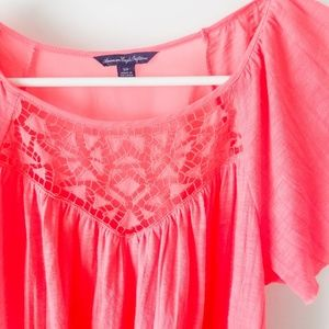 American Eagle Pink Lacey-Front Fluttering SS Tee